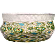 Afro Celotto Art Deco Design Murrine and Silver Glass Bowl / Centerpiece