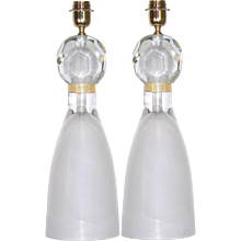 Alberto Dona Italian Pair of Gold and Frosted Murano Glass Lamps