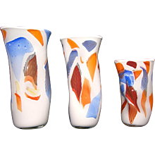 Davide Dona Set of Three Free Form Murano Art Glass Vases in Different Heights