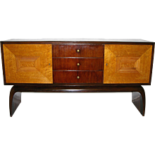 1930 Italian Antique Art Deco Two-Tone Rosewood and Burl Maple Sideboard/Console