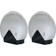 Leucos Italian Pair of Black and White Glass Lamps