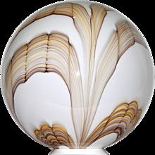 Fratelli Toso Vintage Big Round White Murano Glass Lamp