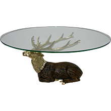 1970s Vintage Italian Oval Coffee Table with Bronze Sculpture Deer