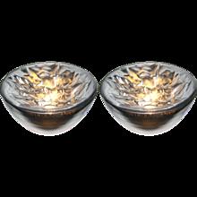 Carlo Nason Italian Large Modern Pair of Ruffled Silver Glass Bowls Lamps