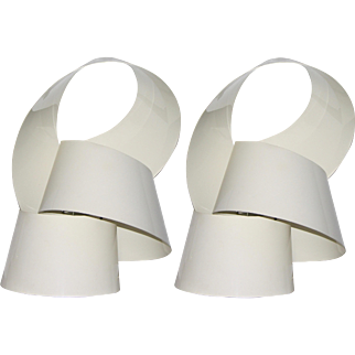 1970s Italian Sculptural White Pair of Flexible Twisted Lamps