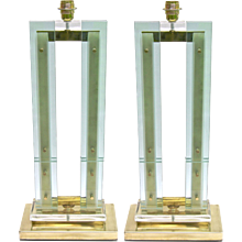 Modern Italian Grand Size Pair of Fontana Arte Style Aqua Glass and Brass Lamps