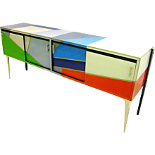 1980 One-of-a-Kind Italian Colored Glass Sideboard with Sliding Doors
