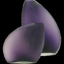 Vistosi 1970s Italian Modern Pair of Organic Purple Murano Glass Vases