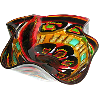 Afro Celotto Large Free-Form Art Glass Bowl in Red Black Turquoise and Yellow