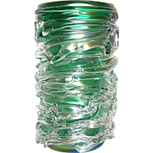 Camozzo Modern Emerald Green Murano Glass Vase