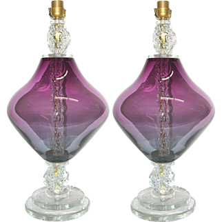 Pair of Modern Italian Amethyst Murano Glass Lamps with Ice Accents