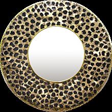 Contemporary Italian Brutalist Brass and Black Glass Modern Round Mirror