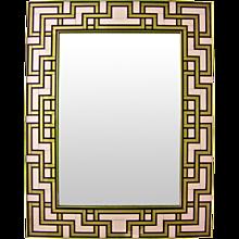 1970s Geometric Italian White, Black and Gold Murano Glass Mirror