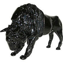 Romano Dona' 1980 Italian Modern Black Murano Art Glass Buffalo Sculpture
