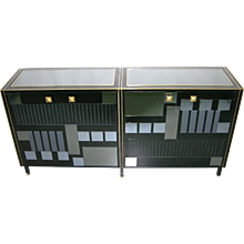 1970s Unique Italian Black and Mirrored Modern Credenza/Sideboard