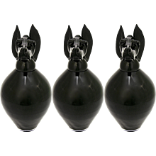Formia 1990 Italian Set of 3 Black Murano Glass Bottles with Dog Head Stopper