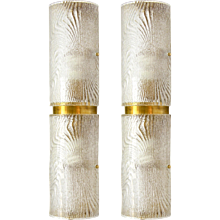 1970s Vintage Italian Pair of Frosted Glass and Brass Wall or Ceiling Lights