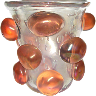 1970s Italian Modern Glass Vase with Coral Buttons
