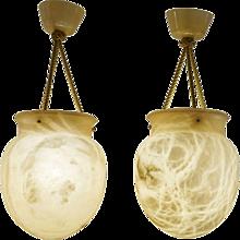 A Pair of Alabaster Amphoras
