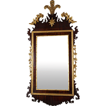 Period George II Chippendale Mahogany and Gilt Mirror with DuPont Provonance