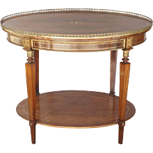 Edwardian English Oval Brass Inlayed & Mahogany Two Tiered Table