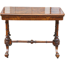 Victorian Burled Walnut Game Table