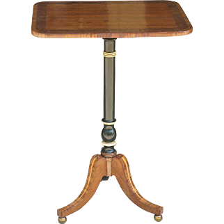 Period Regency Rosewood Banded Mahogany Candlestand