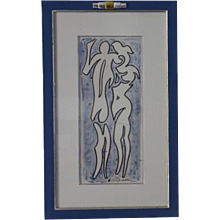 Drawing  of Harold Ambellan   :    LOVERS (AMANTS)