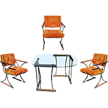 Set of Three Chrome Dining Chairs and Dining Table Set by Cleo Baldon