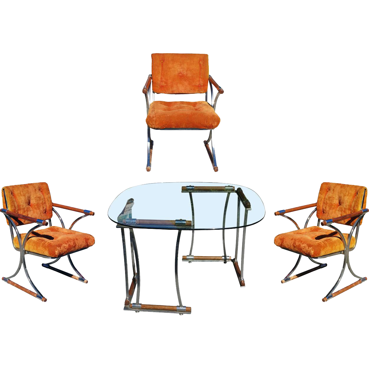 Set Of Three Chrome Dining Chairs And Dining Table Set By