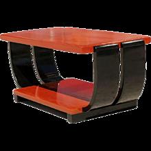 1940s Elegant Lacquer Mahogany Art Deco Cocktail Table