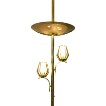 Brass Triple Light Floor to Ceiling Tension Pole Lamp