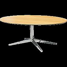 Florence Knoll Oak & Chromed Steel 7' Foot Dining Table Desk