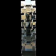 Chrome Interlaced Column Sculpture Floor Lamp by Curtis Jere