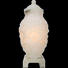 Carved Art Nouveau Alabaster Urn Lamp