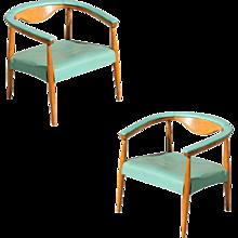 Mid-Century Modern Wegner Inspired Barrel Back Armchairs, Pair