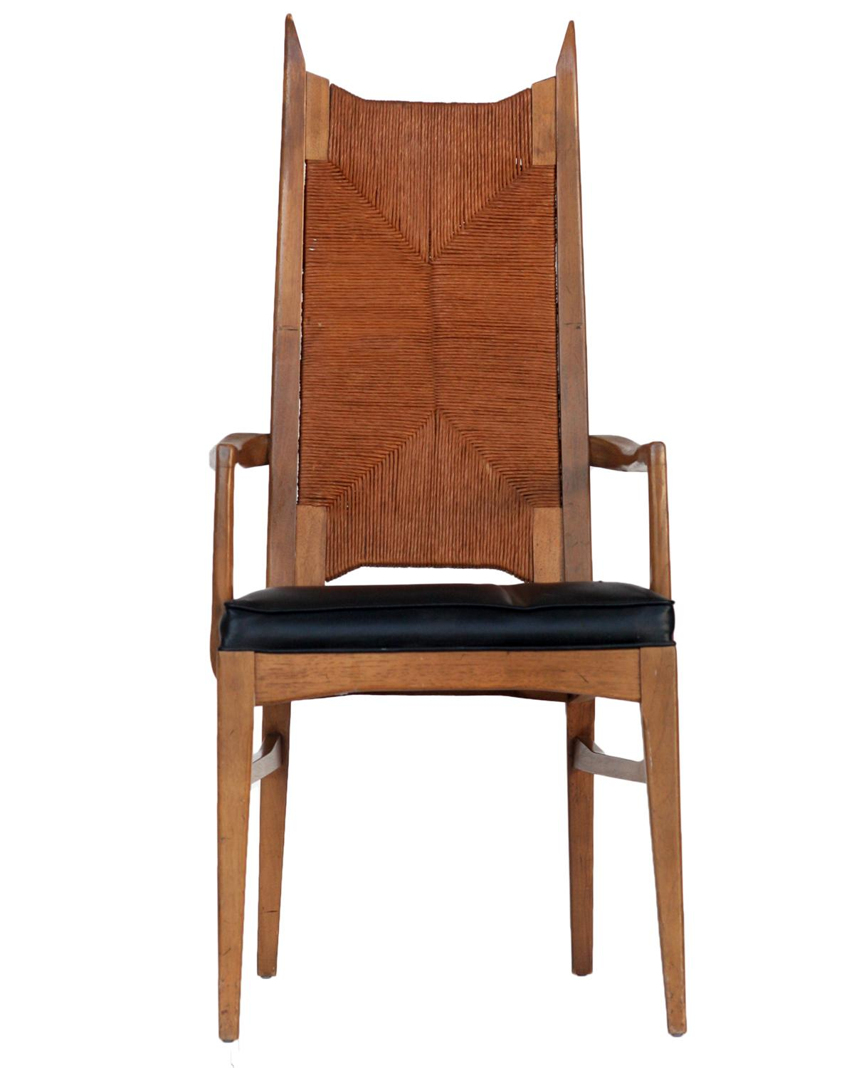 set of 6 high back cathedral danish modern dining chairs fro