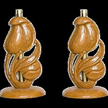 Yasha Heifetz Carved Oak Lamps