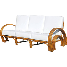 "Paul Frankl Style Four-Strand ""Horse Shoe"" Rattan Sofa"