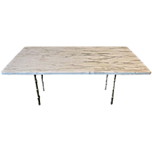 Honed Marble Top Coffee Table with Faux Bamboo Legs in Brass