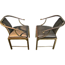 Pair of MasterCraft Brass Chairs in the Oriental Style
