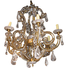 Magnificent Rock Crystal and Gilded Iron Chandelier
