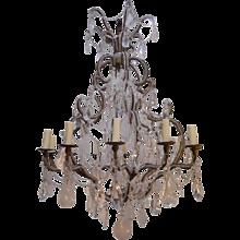 Twelve-Light Rock Crystal and Lead Crystal Chandelier