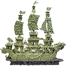 Chinese Carved Serpentine Dragon Ship