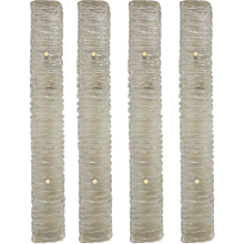 Set of Four Mazzega Rectangular Ribbed Smoky Glass Wall Sconces