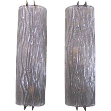 Set of Ten Mazzega Smoky Grey Curved Glass Sconces