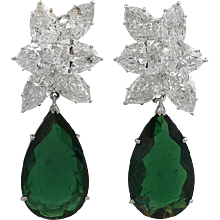 HARRY WINSTON Diamond and P/S Emerald Earrings
