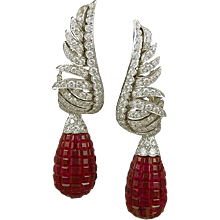 VAN CLEEF & ARPELS Diamond & Mystery-set Ruby Earclips