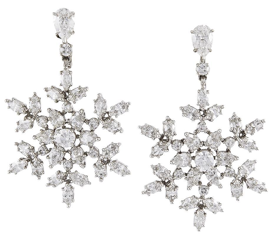 Harry Winston Diamond Snowflakes Earrings From Yafa
