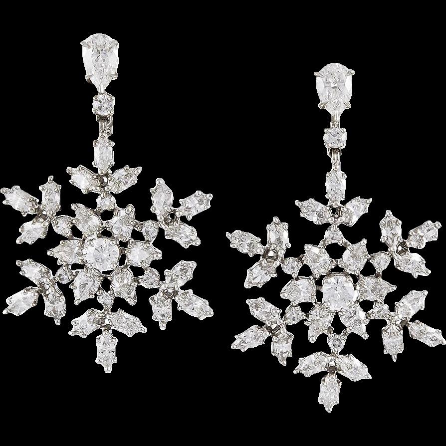 Harry Winston Diamond Snowflakes Earrings Yafa Signed